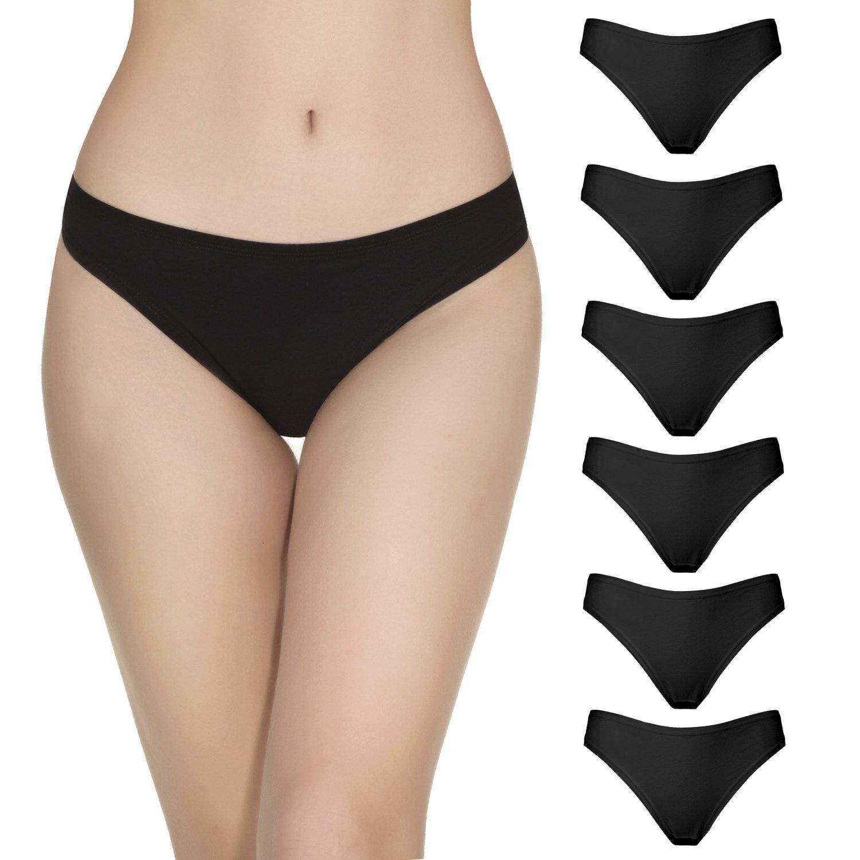 La Volupte 6 Pack Women's Underwear Breathable Cotton Thong Panties (Large, Black)