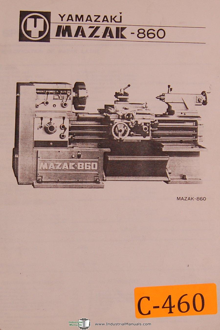 Mazak Yamazaki 860 Lathe, Installation, Wiring Lubrication and Parts Manual:  Mazak: Amazon.com: Books