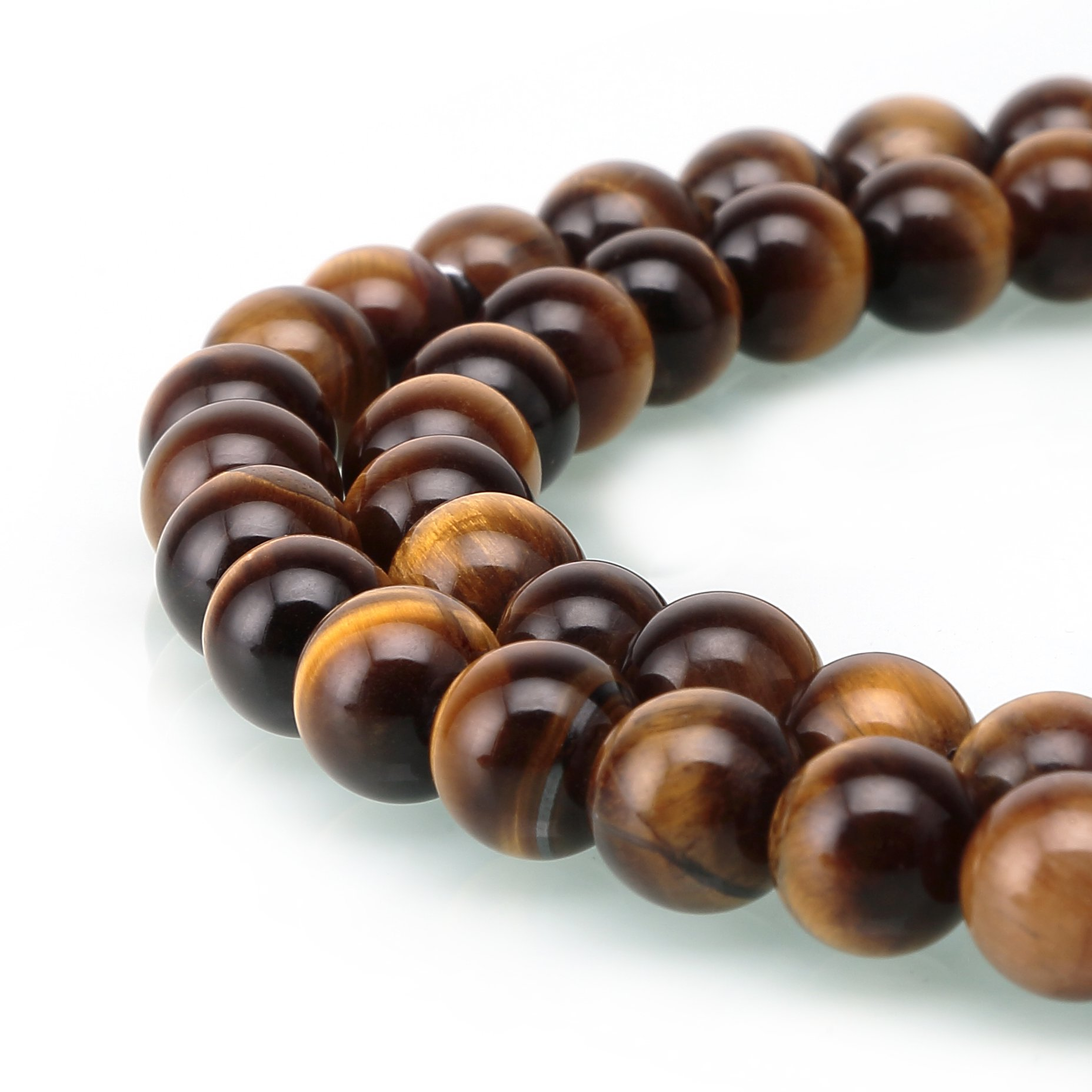BRCbeads Tiger Eye A Grade Gemstone Loose Beads Natural Round 10mm Crystal Energy Stone Healing Power for Jewelry Making- Yellow