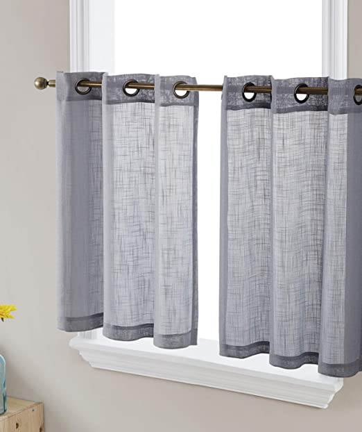Amazon Com Hlc Me Abbey Faux Linen Textured Semi Sheer Privacy Light Filtering Transparent Grommet Short Thick Cafe Curtain Tiers Drapery For Small Windows Kitchen Bathroom 2 Panels 35 W X 36 L,Color Chart Shades Of Dark Purple