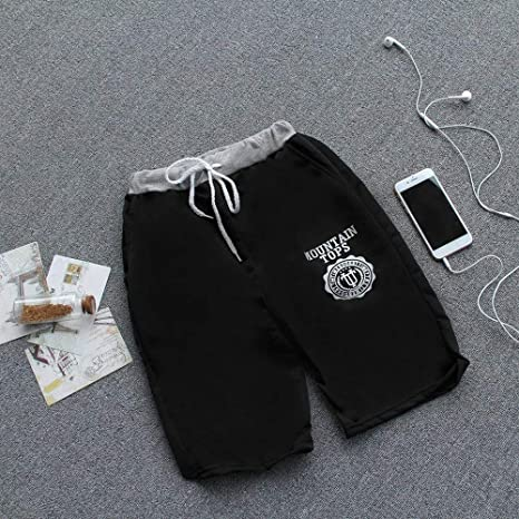 Comfortable Middle Waist Summer Women Men Casual Cotton Blended Beach Shorts Five Sub Pants Waistband Elasticized Cuffs Black