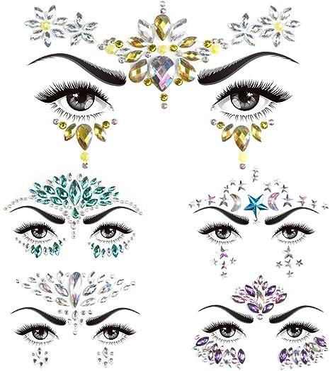 Strass Autocollant Visage Tatouage Glitter Scintillement Bijoux De Corps Pour Des Stickers Cristal Bijoux Strass Pour Festivals Décorations Pour Le Visage 5 Pièces Amazon Fr Beauté Et Parfum