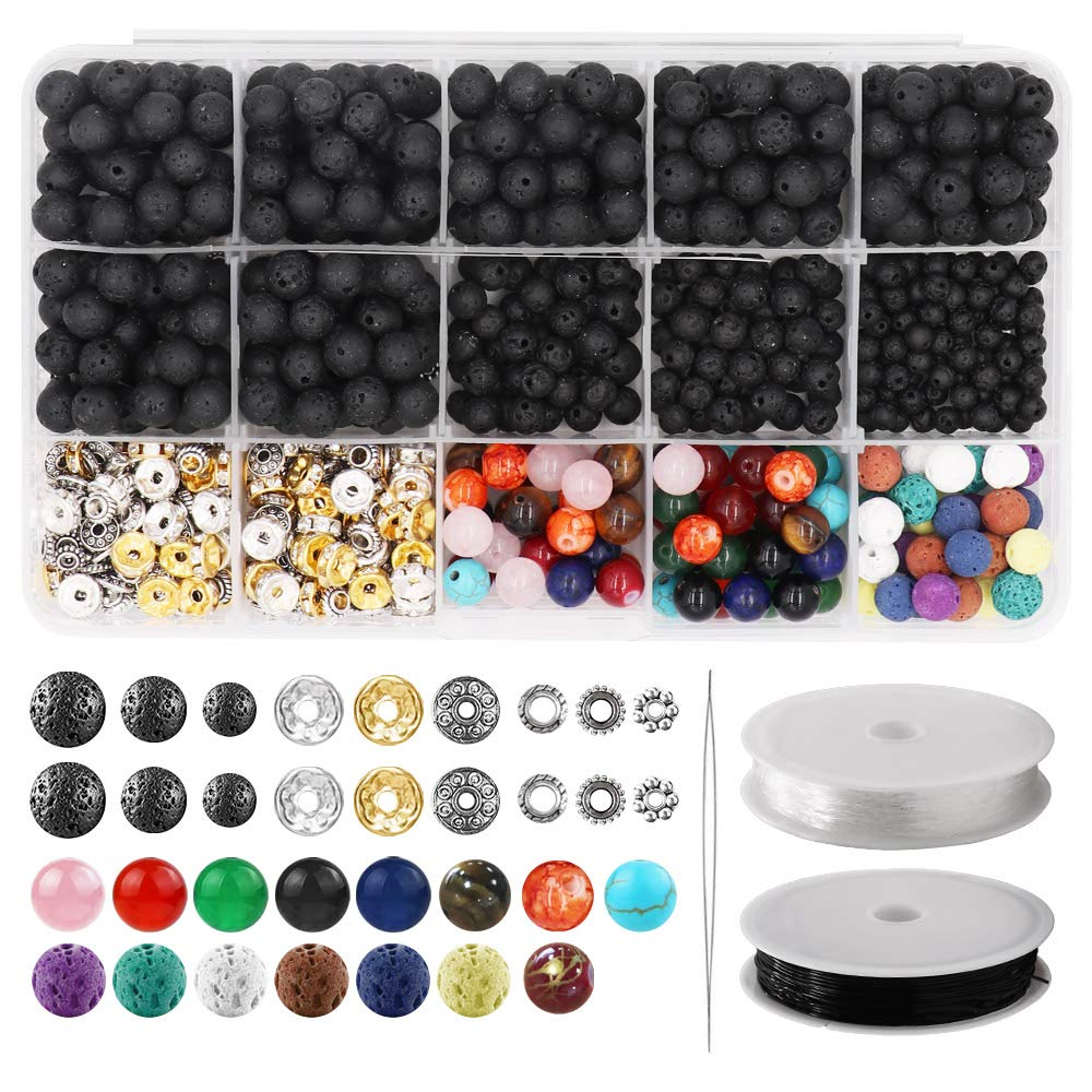 752pcs Lava Beads Kit, Lava Stone Rock Beads Chakra Beads Spacers Beads with 2 Rolls Elastic Bracelet String and Needle for Essential Oils Bracelet Necklace Jewelry Making (8mm 6mm 4mm) by Alritz