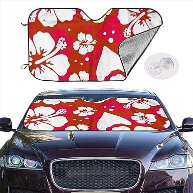 Aoopistc Hawaiian Boho Aqua Blue Hibiscus Flower Print Car Sun Shade for Front Window Only Uinversal Fit Auto SUV Truck