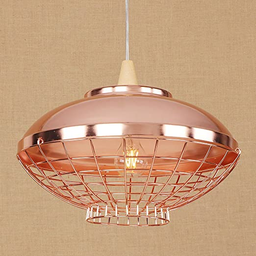 e27 vintage caged pendant lights industrial retro rose gold ceiling