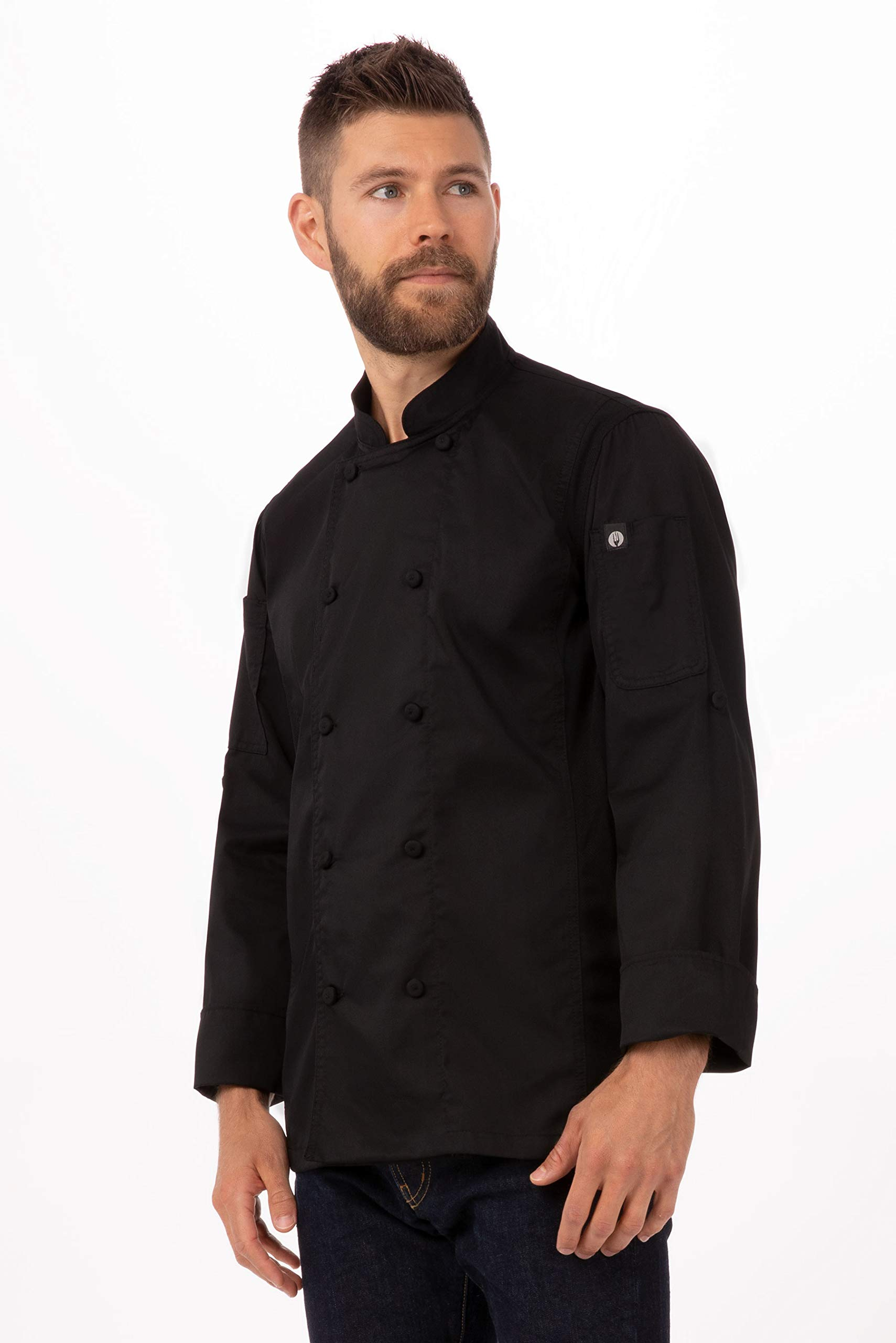 Chef Works Men's Bowden Chef Coat, Black, Large by Chef Works