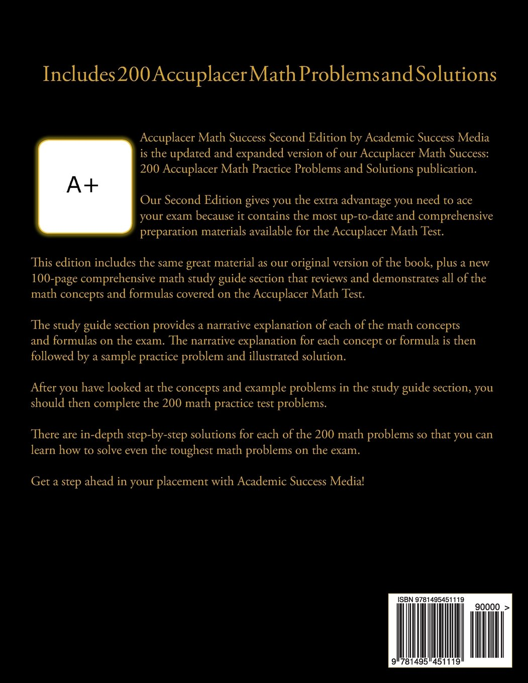 Accuplacer Math Success - Second Edition with Math Concept and ...