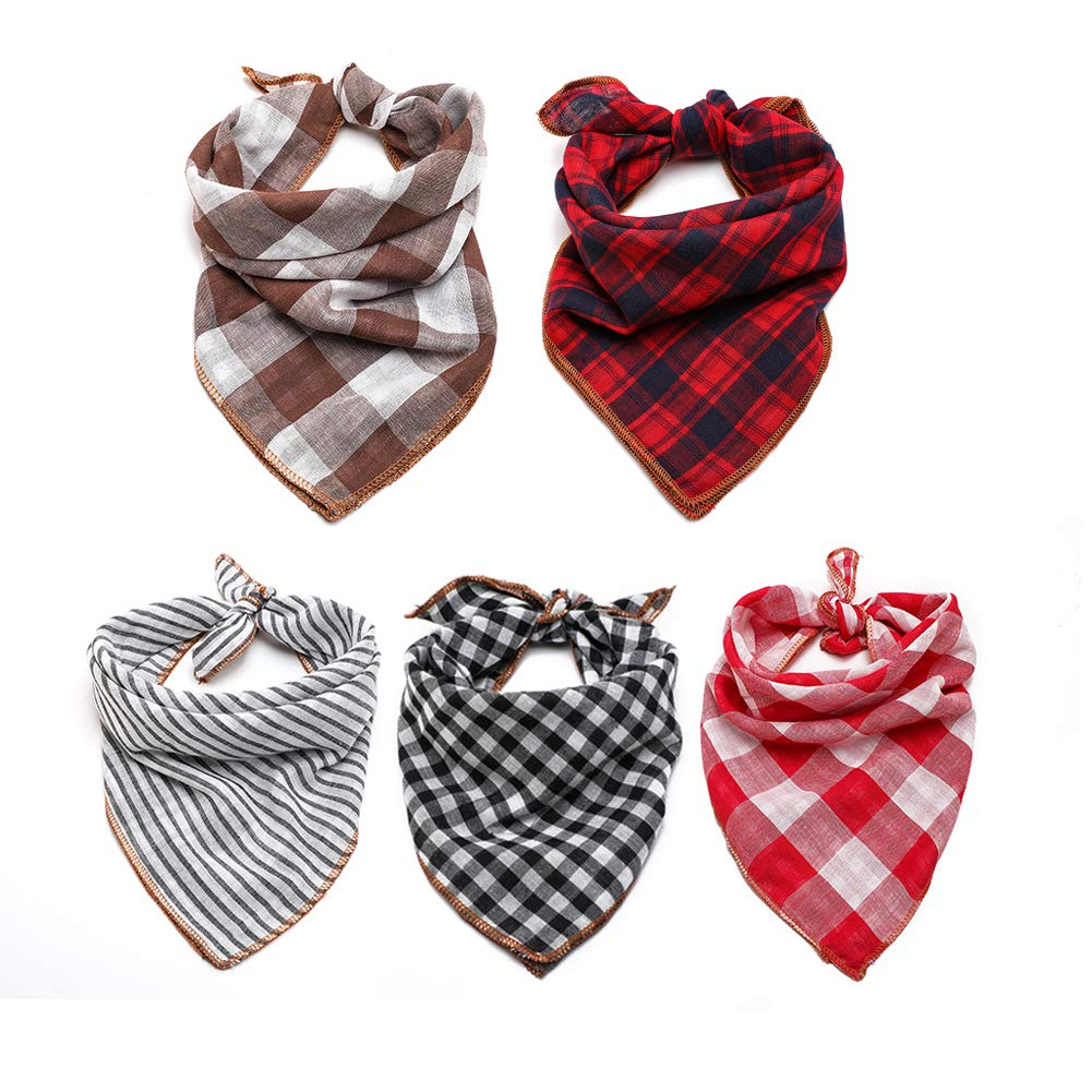 TRAVEL BUS Dog Bandana- 5pcs Washable Dog Bandanas Square Reversible Plaid Stripe Printing Dog Kerchief Set Scarf Accessories for Small to Large Dogs Cats Pets by TRAVEL BUS
