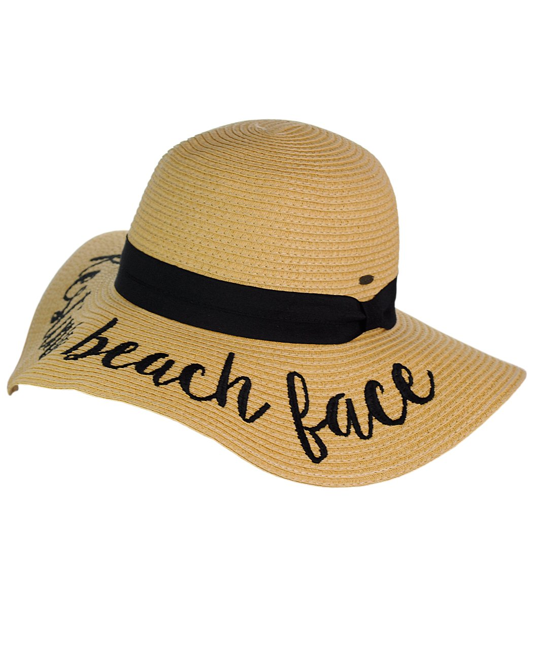 f2d9527816cfb C.C Women s Paper Weaved Crushable Beach Embroidered Quote Floppy Brim Sun  Hat