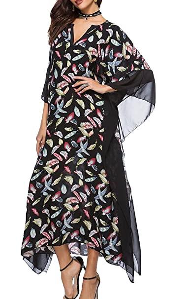 BYWX Women\'s Batwing Sleeve Baggy Print Casual Loose Plus Size Maxi ...