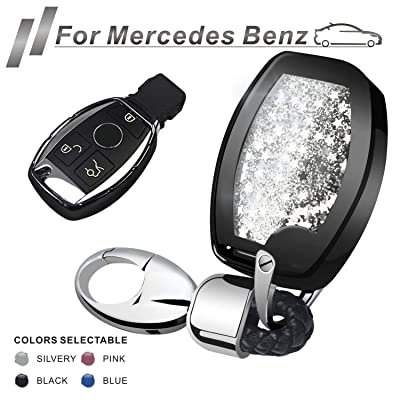 RYE for Mercedes Benz Key Fob Cover with Glitter Liquid Quicksand,Flowing Bling Sparkle Key Fob Case Fit Benz A B C E G S R M G CLS CLK GLK GLC Class Keyless Smart Key Fob - Black: Automotive