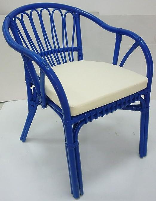 Kelly asiento de silla mimbre, bambú rattan azul con casa ...