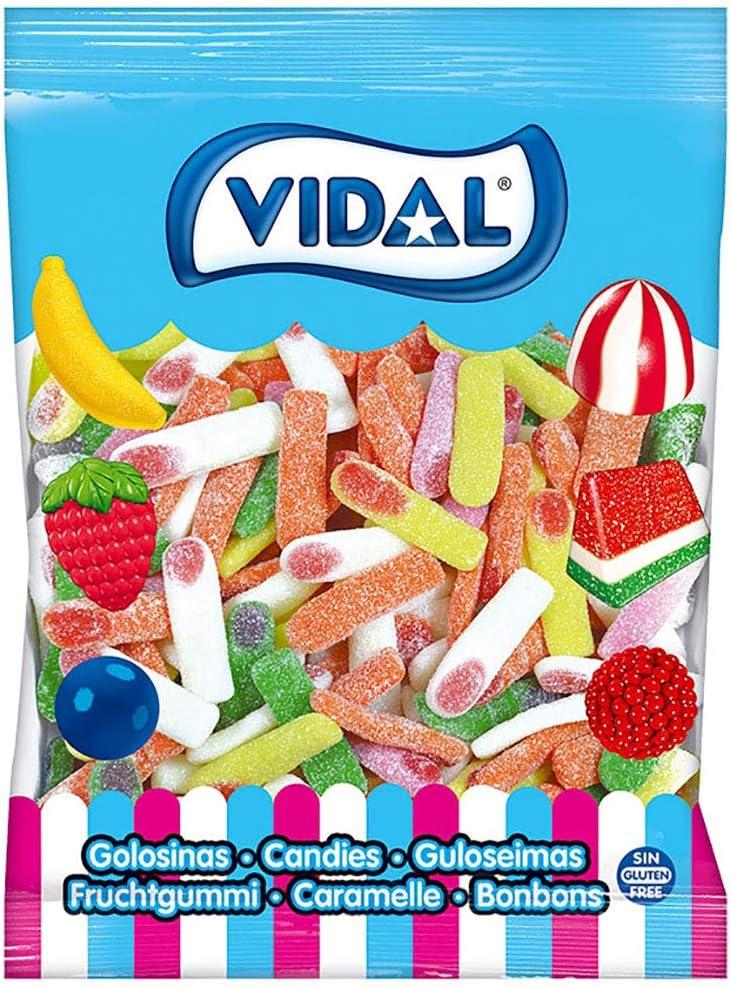 Vidal Golosinas. Dedos Pica surtidos. Caramelo de goma con sabor pica. Colores rosa, amarillo, naranja y verde. Bolsa 1,5 kg (101)