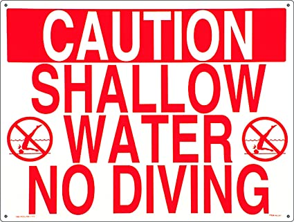 853700c171430 Poolmaster Sign for Residential or Commercial Swimming Pools, Shallow Water  No Diving