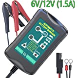 LST 6V/12V 1.5Amp Vehicle Battery Charger Maintainer Smart Fast Waterproof with 4 Stages Charging for All types of ATV Motorcycle Automotive Marine RV AGM Gel cell Batteries