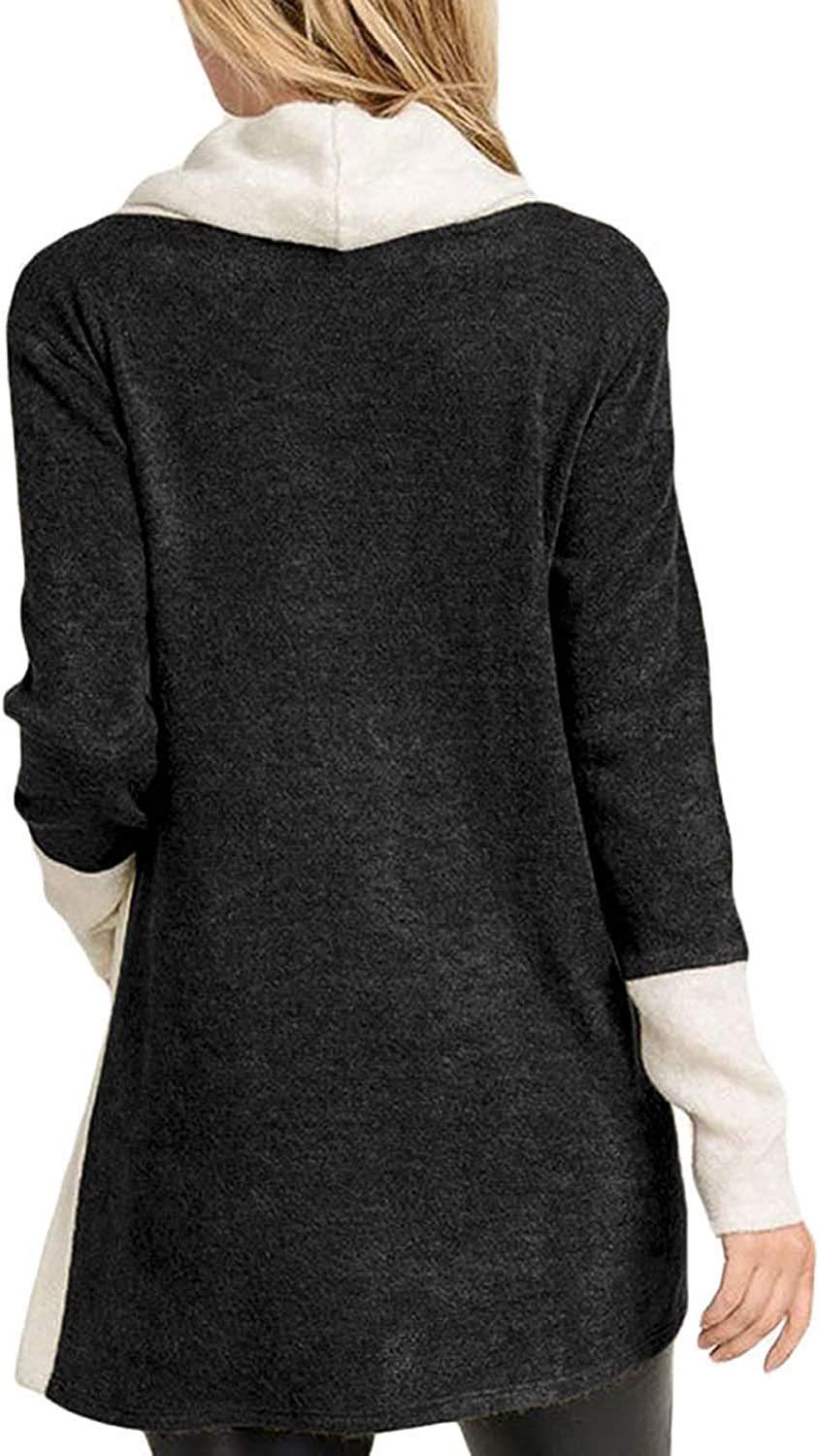 Salamola Womens Turtleneck Long Sleeve Contrasting Trim Button Tunic Tops