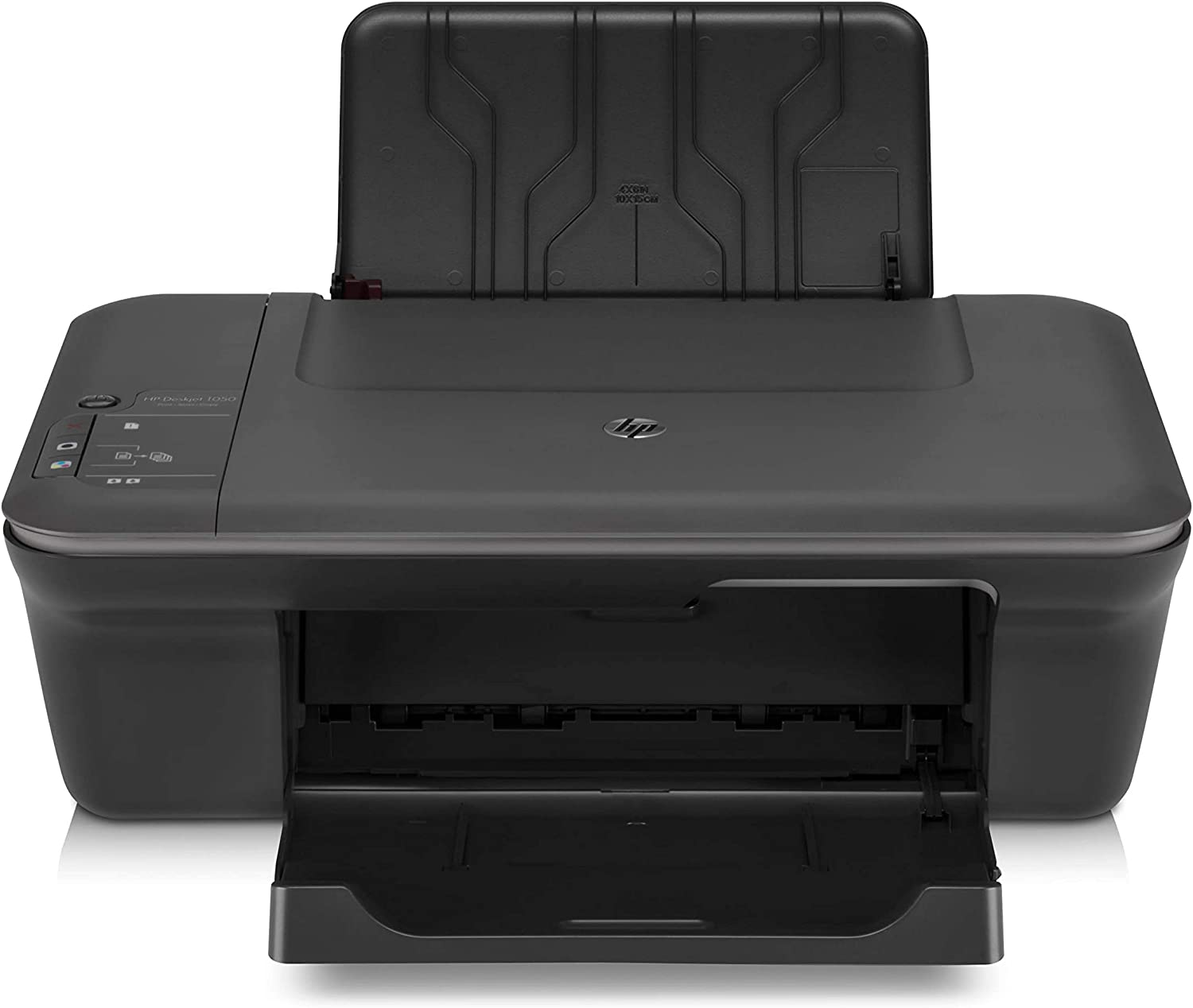 HP Deskjet 1055 J410E Inkjet Multifunction Printer - Color - Photo Print - Desktop - Printer, Copier, Scanner - 16 ppm Mono/12 ppm Color Print - 5.5 ppm Mono/4 ppm Color Print (ISO) - 61 Second Photo - 4800 x 1200 dpi Print - 4.5 cpm Mono/2.5 cpm Color Copy - 1200 dpi Optical Scan - 60 sheets Input - USB