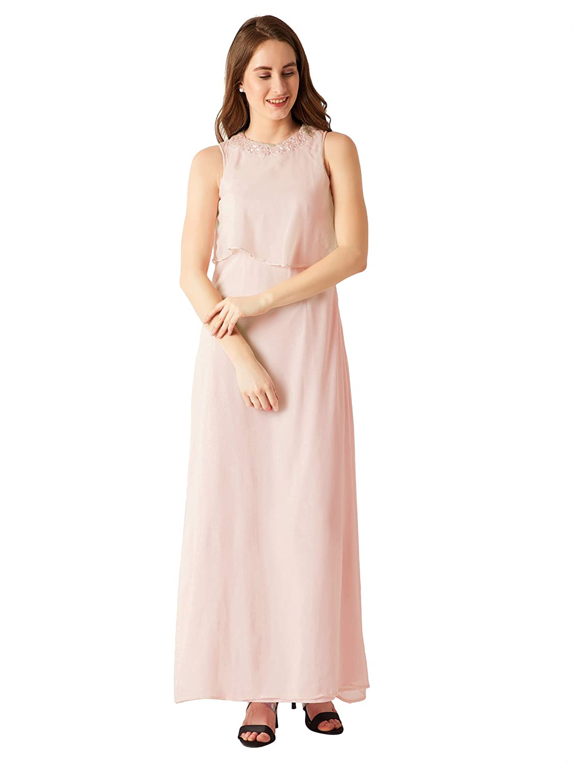 eebe1c41b7 Miss Chase Women's Light Pink Sequin Maxi Dress: Amazon.in: Clothing &  Accessories