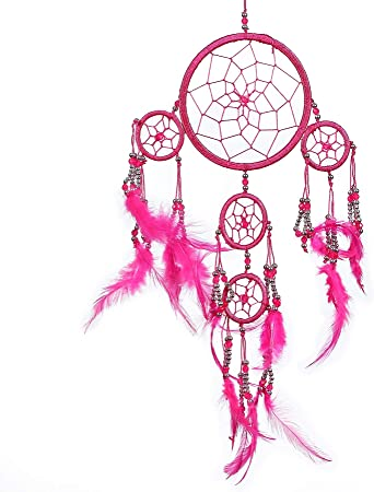 50cm Long Pink Pineapple Ethical Hanging Dreamcatcher Wall Art with Multicoloured Rainbow Feathers and Beads Traditional Crochet 7 Chakra Design 6cm Wide Long Handmade Bohemian Dream Catcher