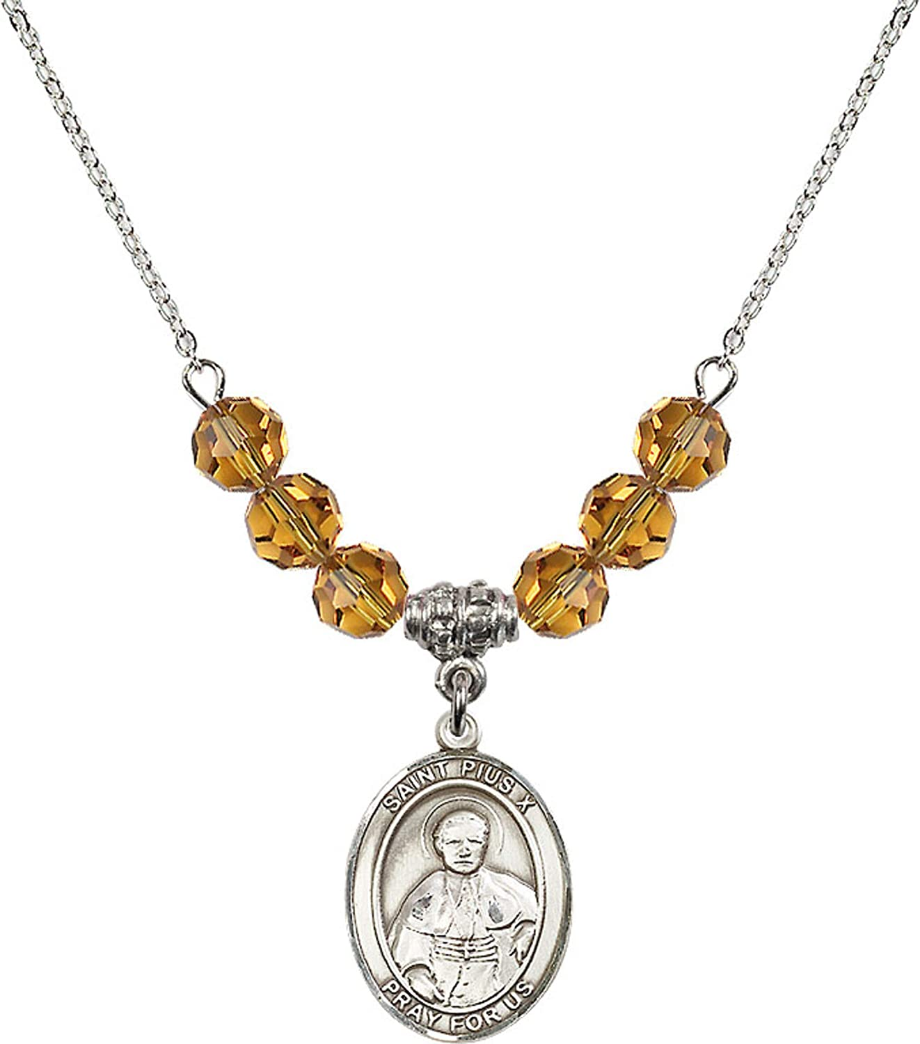 Bonyak Jewelry 18 Inch Rhodium Plated Necklace w// 6mm Yellow November Birth Month Stone Beads and Saint Pius X Charm
