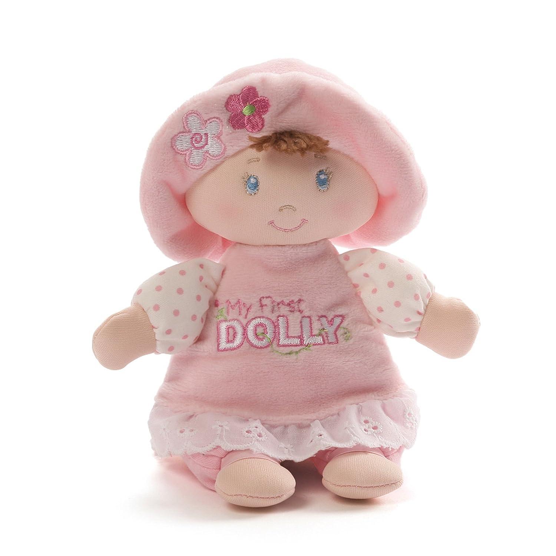 Baby GUND My First Dolly Brunette Stuffed Plush Rattle, 7 7 4053917