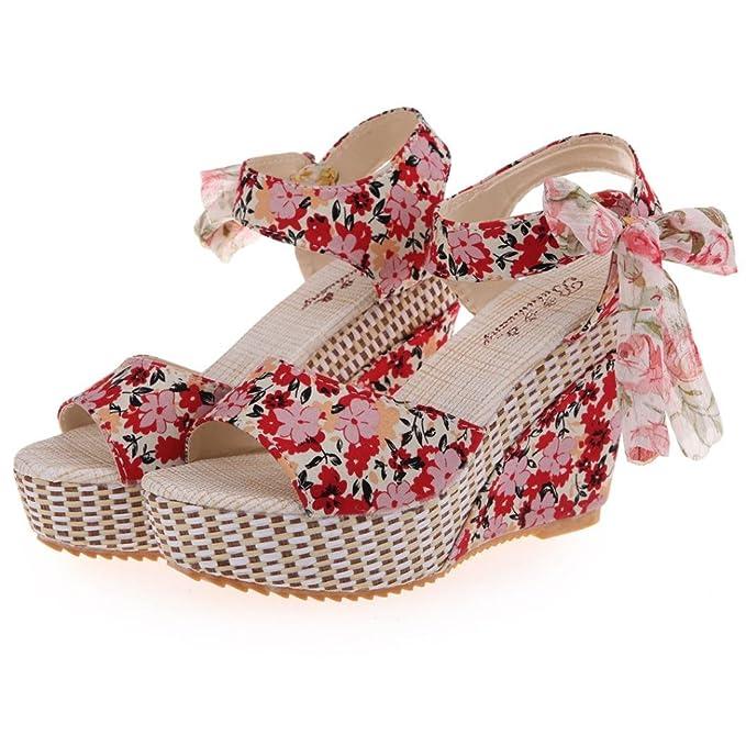 4f268272 ZARLLE Zapatos De Mujer Shake Sandalias De Verano De Moda Floral Zapatos De  TacóN Bajo Grueso Sandalias Casuales Sandalias De TacóN Bajo Zapatillas De  ...