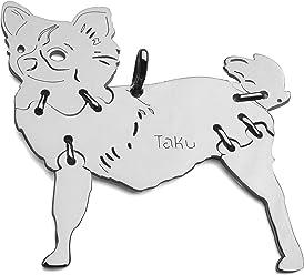 CHIHUAHUA-3 LANGHAAR Hunde Tier-Anhänger Medium 925 Sterling Silber Charm Schmuck 073CM