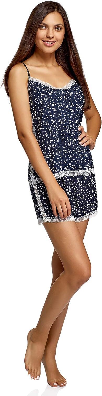 oodji Ultra Damen Bedruckter Viskose-Schlafanzug