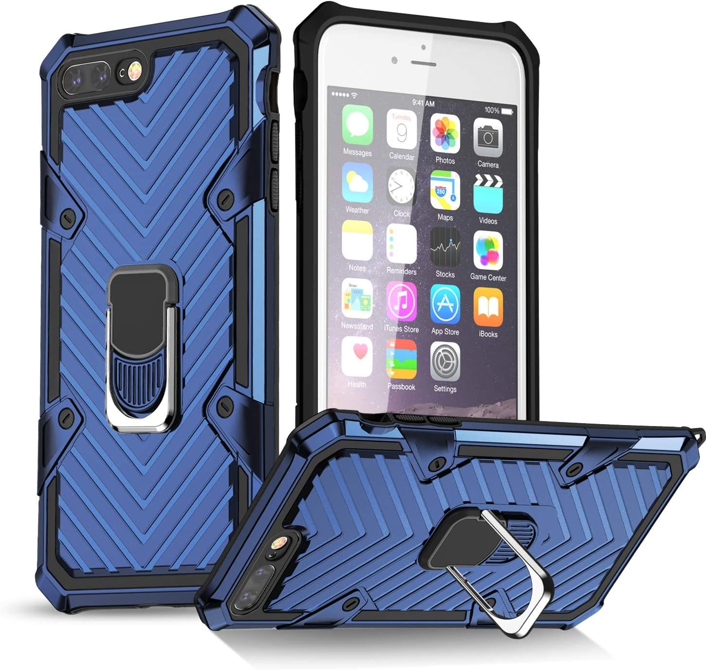 iPhone 7 Plus Case | iPhone 8 Plus Case | Kickstand | [ Military Grade ] 15ft. SGS Drop Tested Protective Case | Compatible for Apple iPhone 8 Plus/iPhone 7 Plus-Blue (iPhone 7/8 Plus)