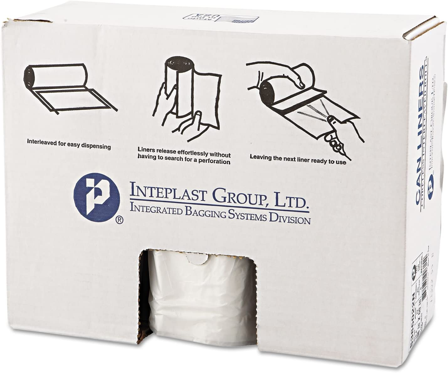 Inteplast S386022N High-Density Can Liner, 38 x 60, 60gal, 22mic, Clear, 25/Roll, 6 Rolls/Carton
