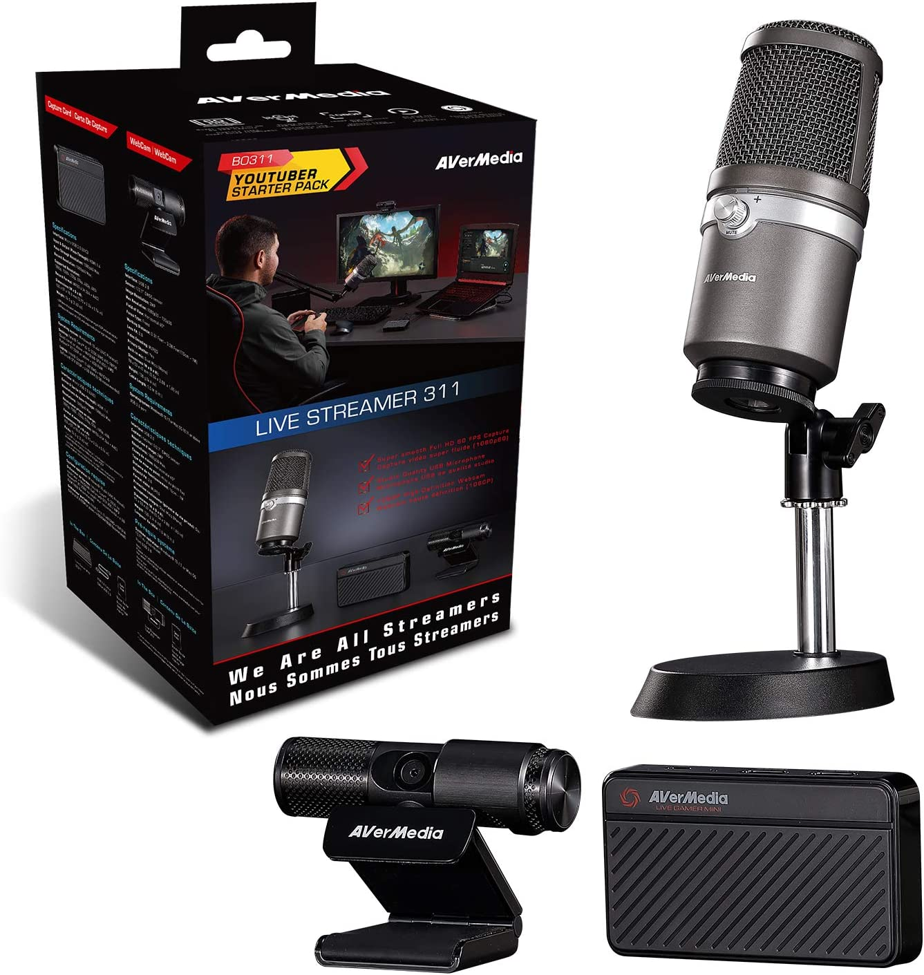 AVerMedia Live Streamer 311 61BO311000AE, Pack Todo en Uno ...