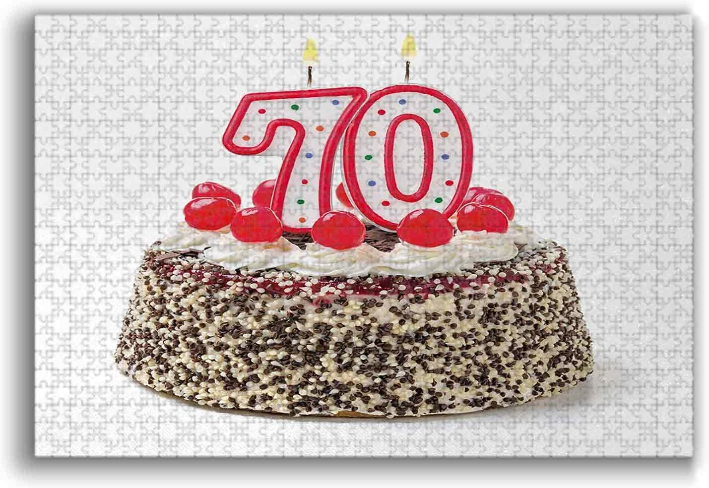 3D Puzzle Birthday Cake with 70 Number Candles and Sprinkles Party Event Photo Image Unique Jigsaw Pieces Every Pieces Fit Together Perfectly Multicolor 1000 Pieces