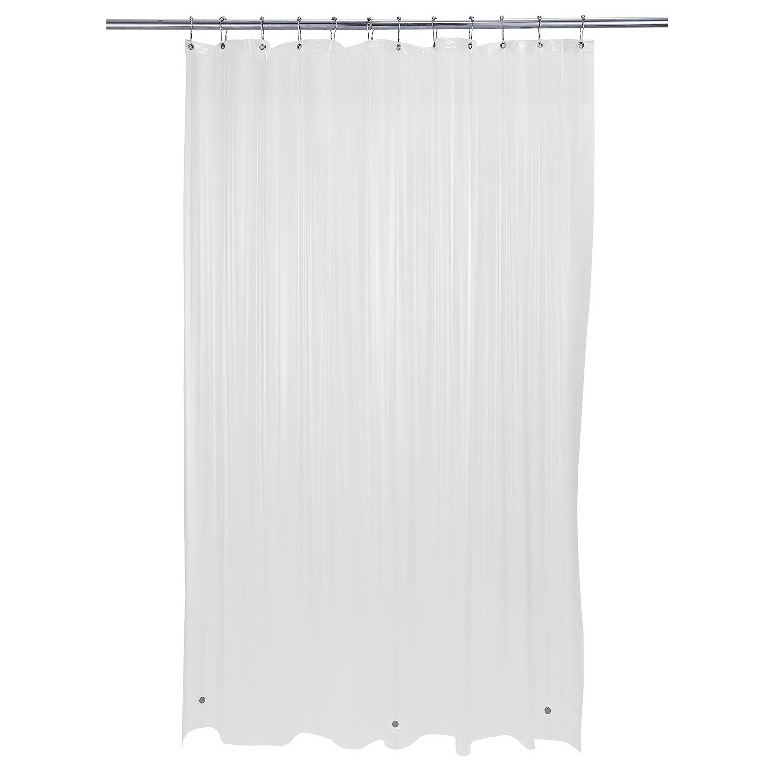 Bath Bliss Heavy Shower Curtain Liner, 12 Rust Resistant Metal Grommets, 3 Weighted Magnet Hem, Frost Off-White