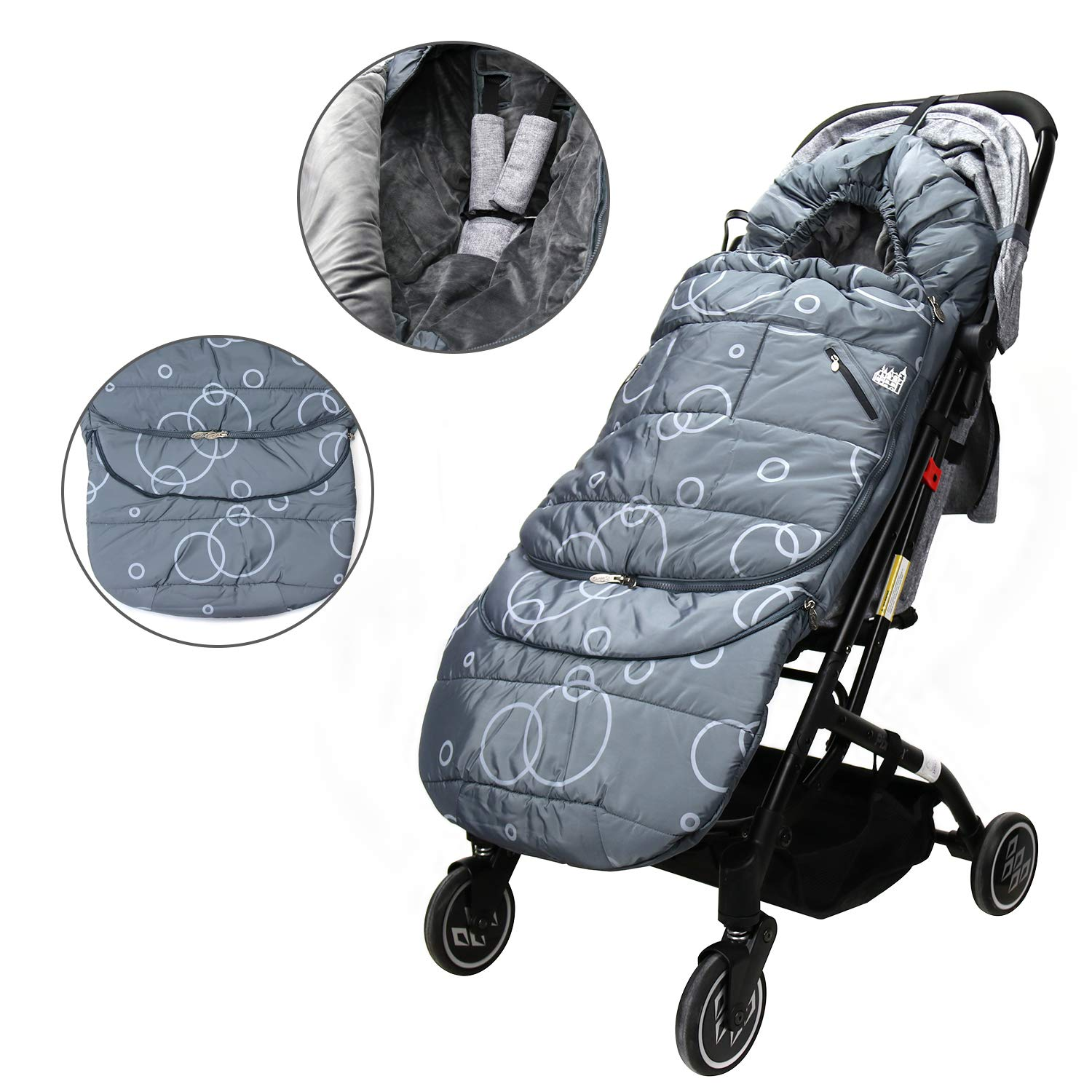 Wonder buggy Winter Outdoor Tour Waterproof Baby Infant Stroller Sleeping Bag Warm Footmuff Sack with Plush Interior (Gray) by Wonder buggy (Image #1)