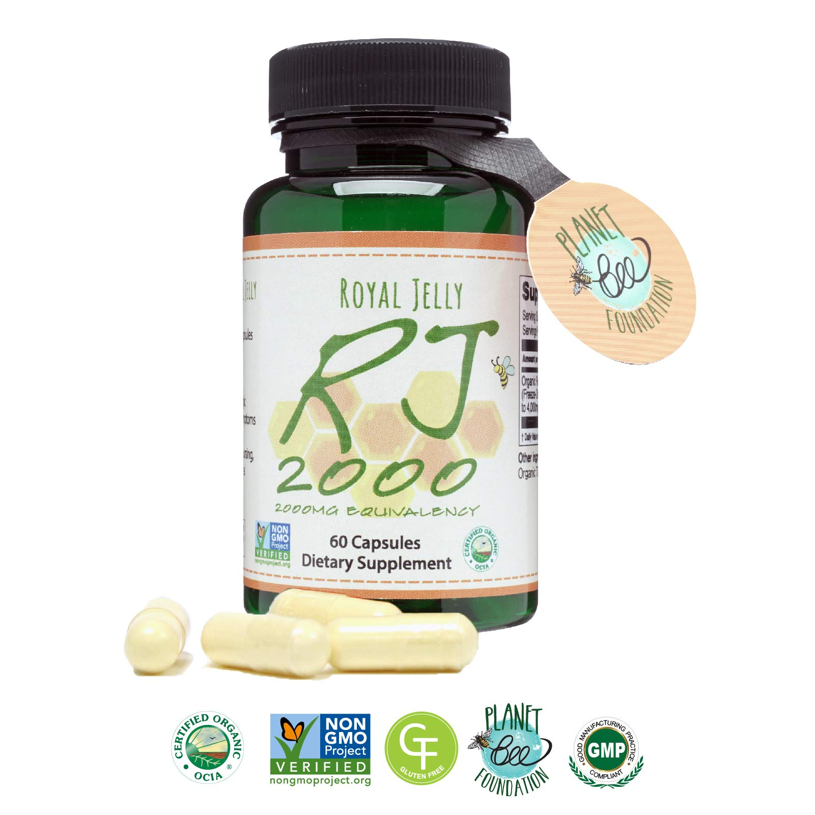 GREENBOW Royal Jelly 2000mg Equivalency - Non GMO Made with Organic Royal Jelly - One of The Most Nutrition Packed Diet Supplements - (60 Vegan Capsules) by Greenbow