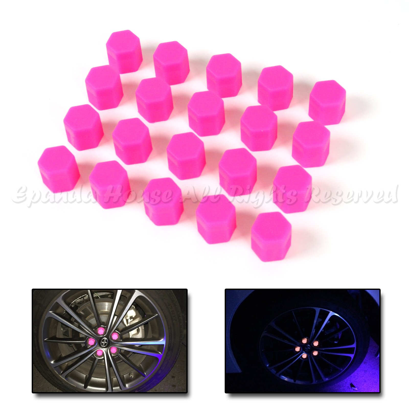 21mm 20X Glow In The Dark Blacklight Wheel Rim Lug Nuts Covers Cars/Bikes Pink by EpandaHouse (Image #1)