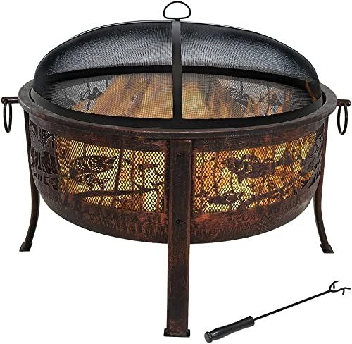 Sunnydaze Northwoods Fishing Outdoor Wood Burning Fire Pit with Spark Screen – 30-Inch Diameter