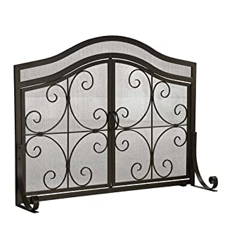 Large Crest Fireplace Screen With Doors, Solid Wrought Iron Frame With  Metal Mesh, Decorative