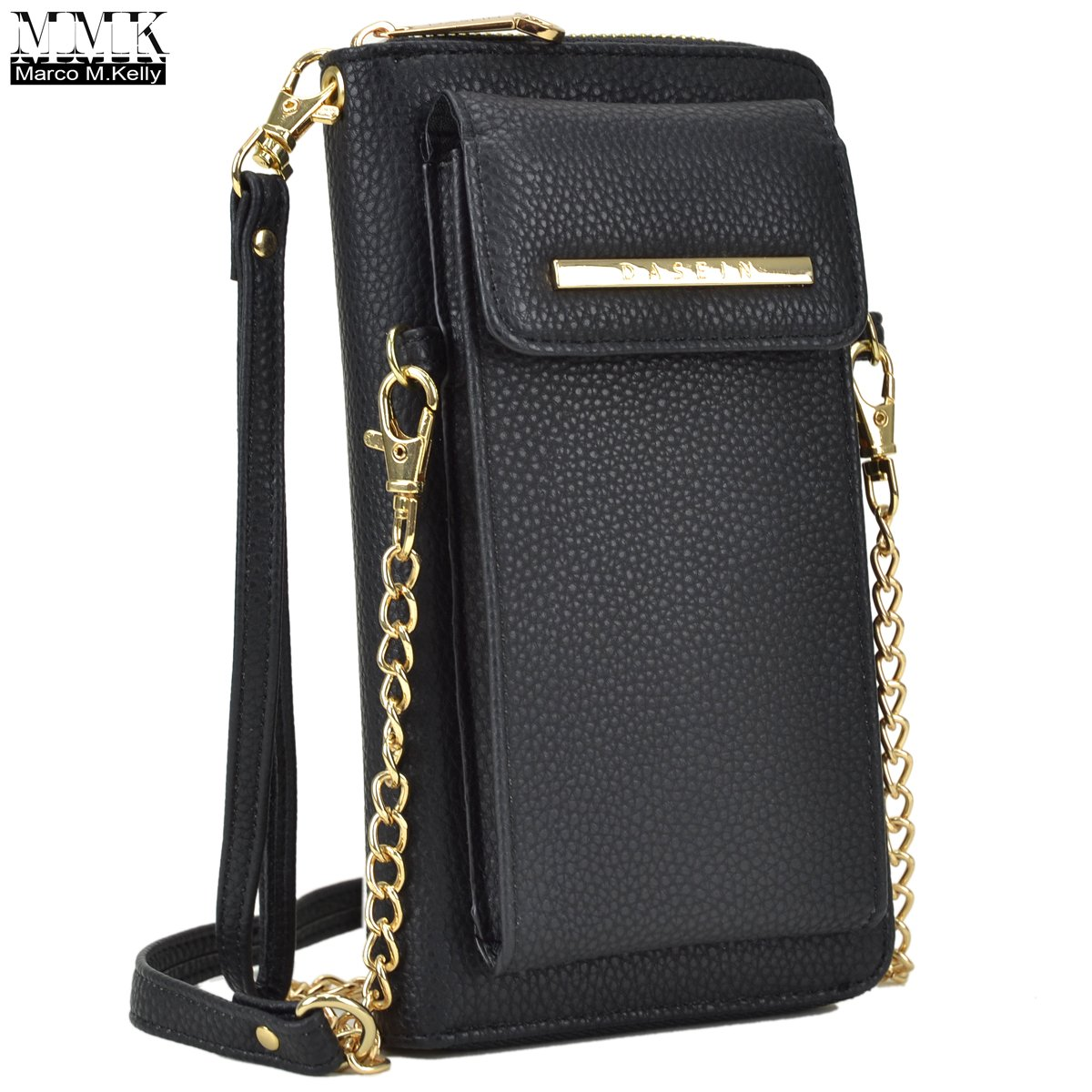 MMK Collection Easy-To-Carry Small Size Women Crossbody Wallet, Organizer pouch, with Phone case and Detachable Chain Strap(3020) (MA-3020-BK)