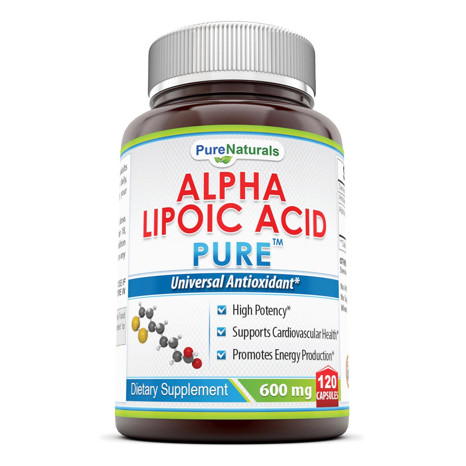 Pure Naturals Alpha Lipoic Acid 600 Mg Capsules, 120 Count