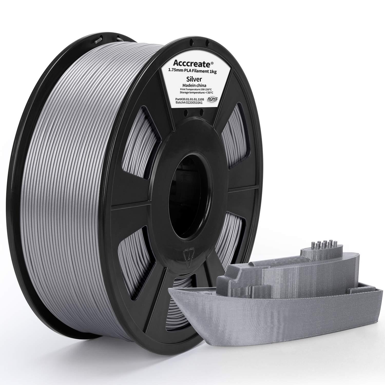 ACCCREATE 1.75mm PLA Filament, 3D Printer Filament, Dimensional Accuracy +/- 0.03 mm, 2.2 LBS(1 KG) Spool, Filament for 3D Printers,Silver