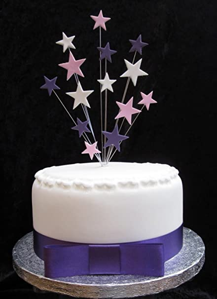 Excellent Purple Pink And White Star Cake Topper Plus 1 X Metre 25Mm Purple Personalised Birthday Cards Arneslily Jamesorg