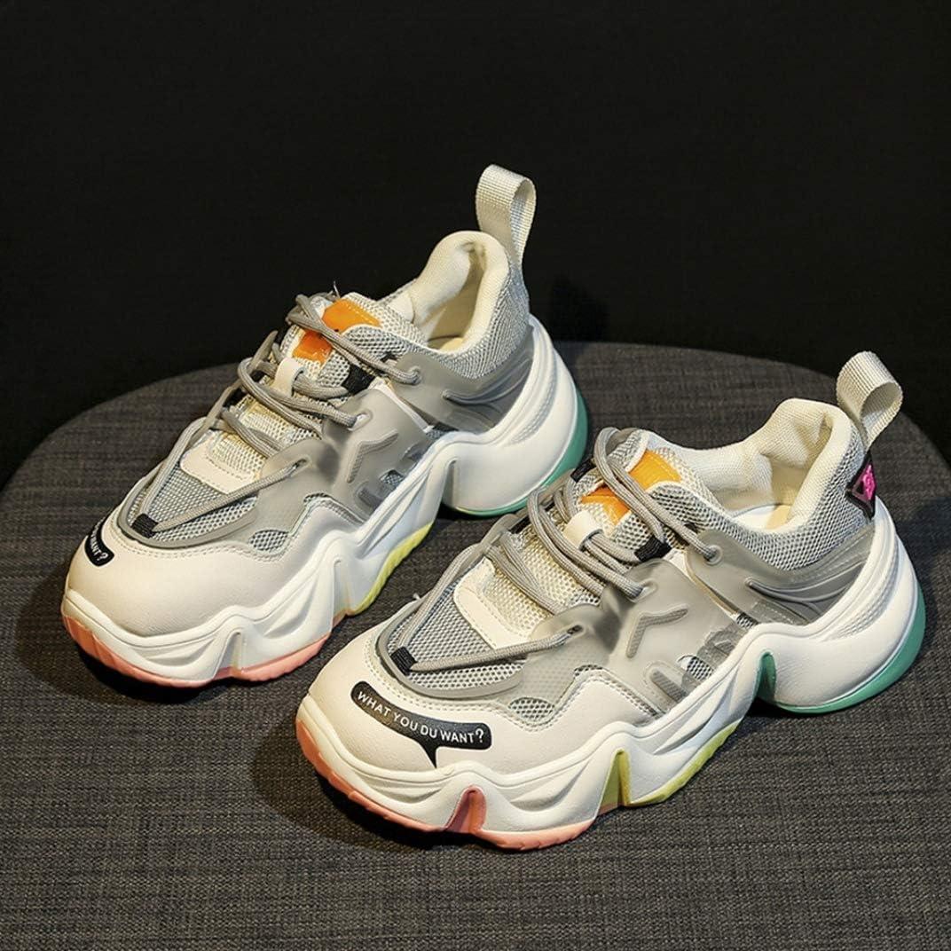 Femme Chaussure de Basket Mode Compensée en Printemps Été Multicolore en Textile Endurance Sneaker a Lacets Casual Antichoc Gris