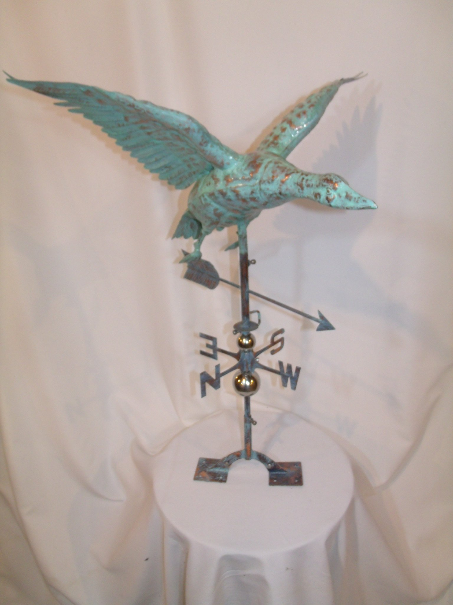 LARGE Handcrafted 3D 3- Dimensional Flying Goose Weathervane Copper Patina Finish