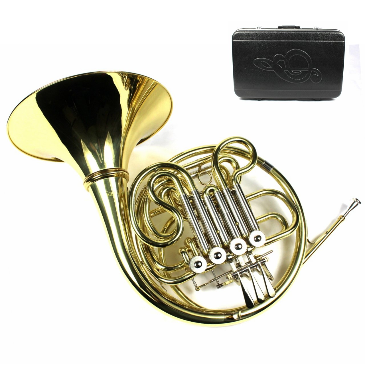 Monel Rotors Bb/F 4 Keys Double French Horn w/Case & Mouthpiece-Gold Lacquer Finish by Moz