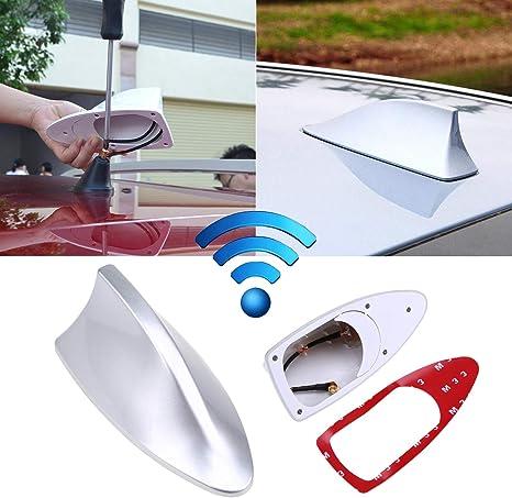 Waterproof Shark Fin Antenna FM//AM Radio Signal Aerials Silver for Universal Car
