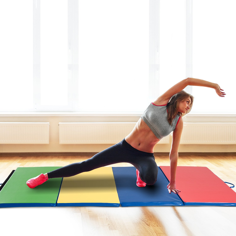 HOMCOM Colchoneta 245x120x5cm Grosor 5 cm Plegable con Asas 4 Pliegues Yoga Pilates: Amazon.es: Deportes y aire libre