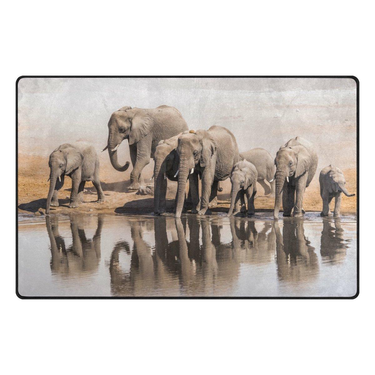 120 x 160 cm Naanle African Elephant Family Art Painting Non Slip Area Rug for Living Dinning Room Bedroom Kitchen 4x5 ft Animal Elephant Nursery Rug Floor Carpet Yoga Mat