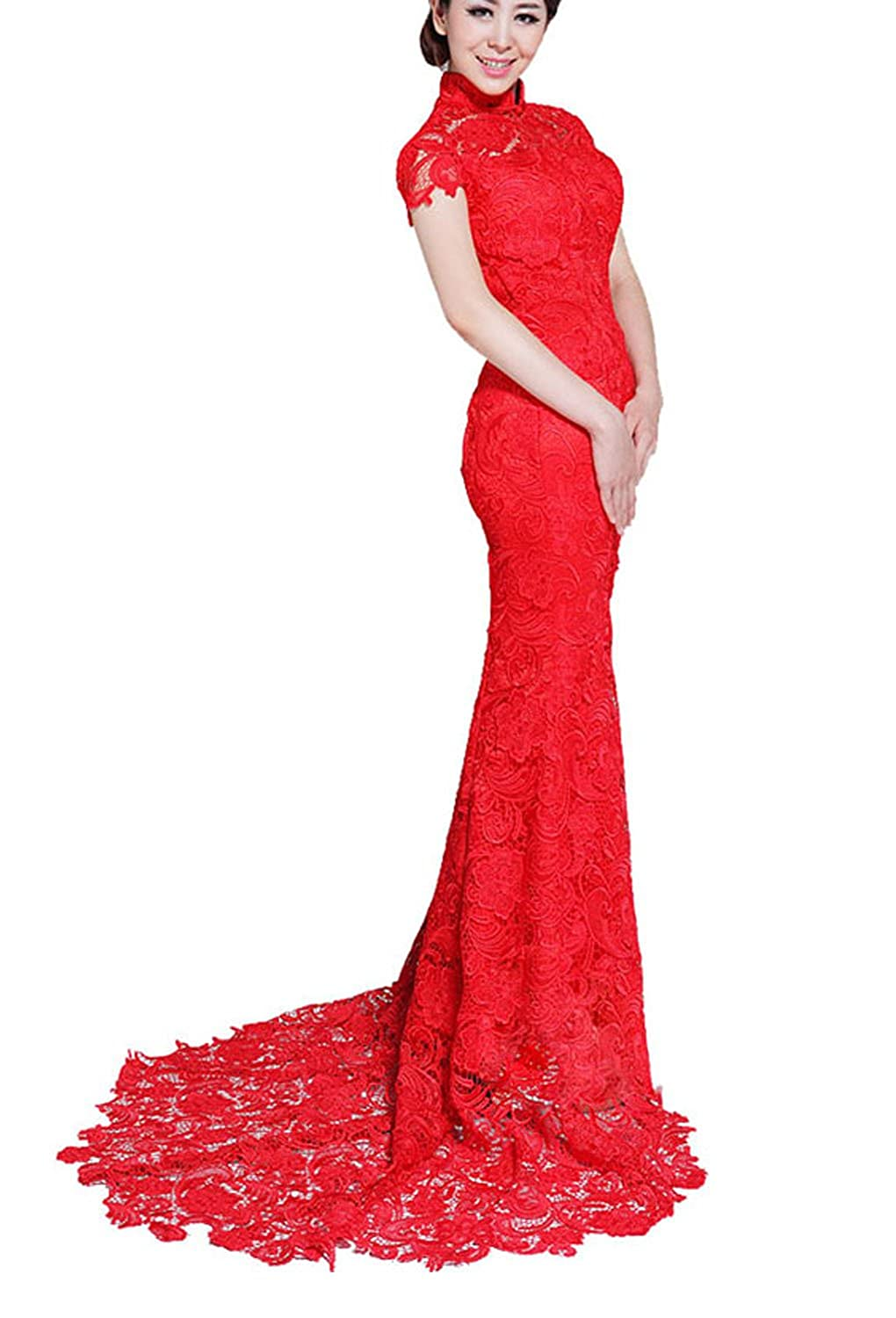 Amazon.com: Trumpet / Mermaid Red Scoop Lace Zipper Floor Length Cheongsam Dress: Clothing