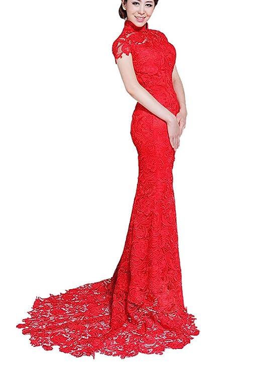 Amazon.com: Trumpet / Mermaid Red Scoop Lace Zipper Floor Length ...